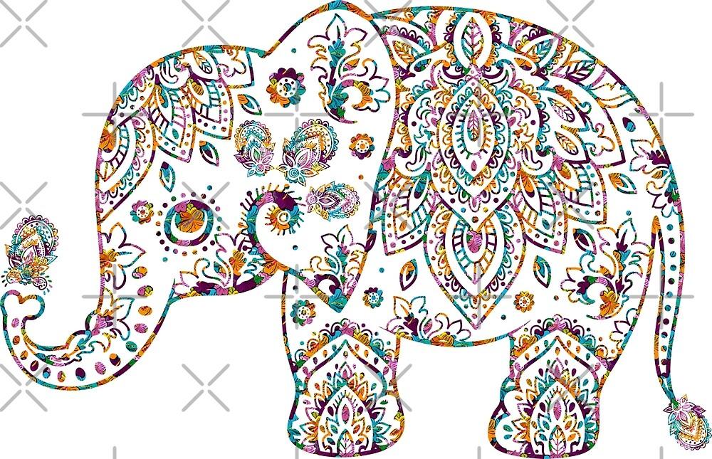 Colorful Paisley Elephant by artonwear