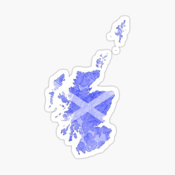 Scotland with Saltire on Dark Blue Background Sticker
