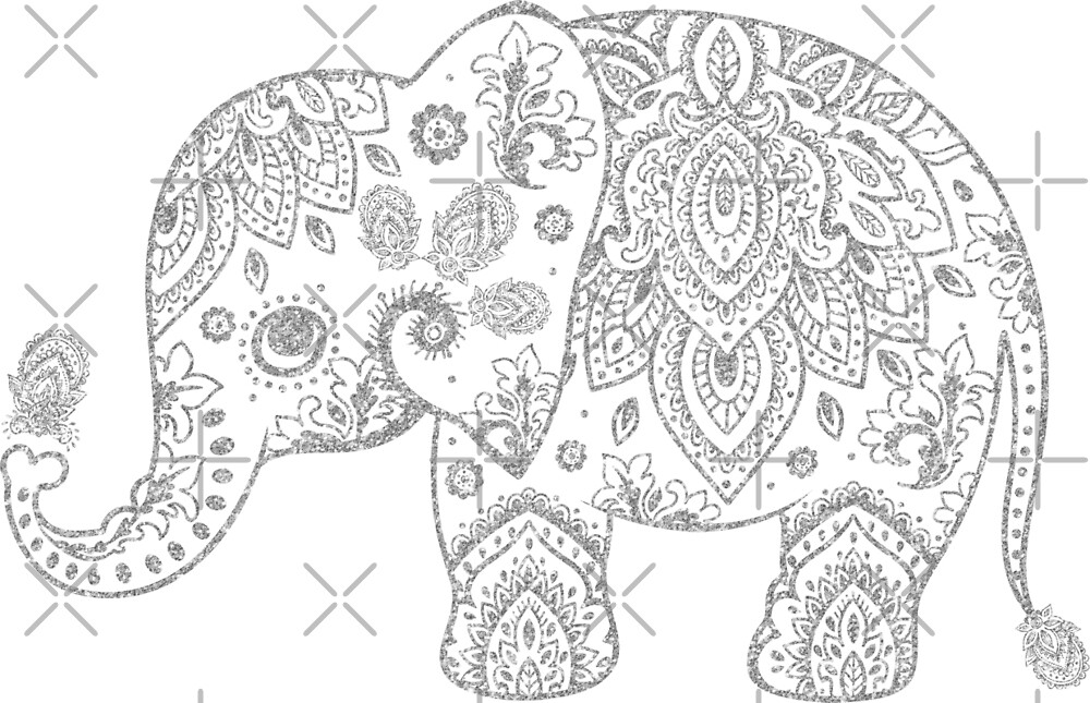 Silver Gray Glitter Floral Paisley Elephant by artonwear
