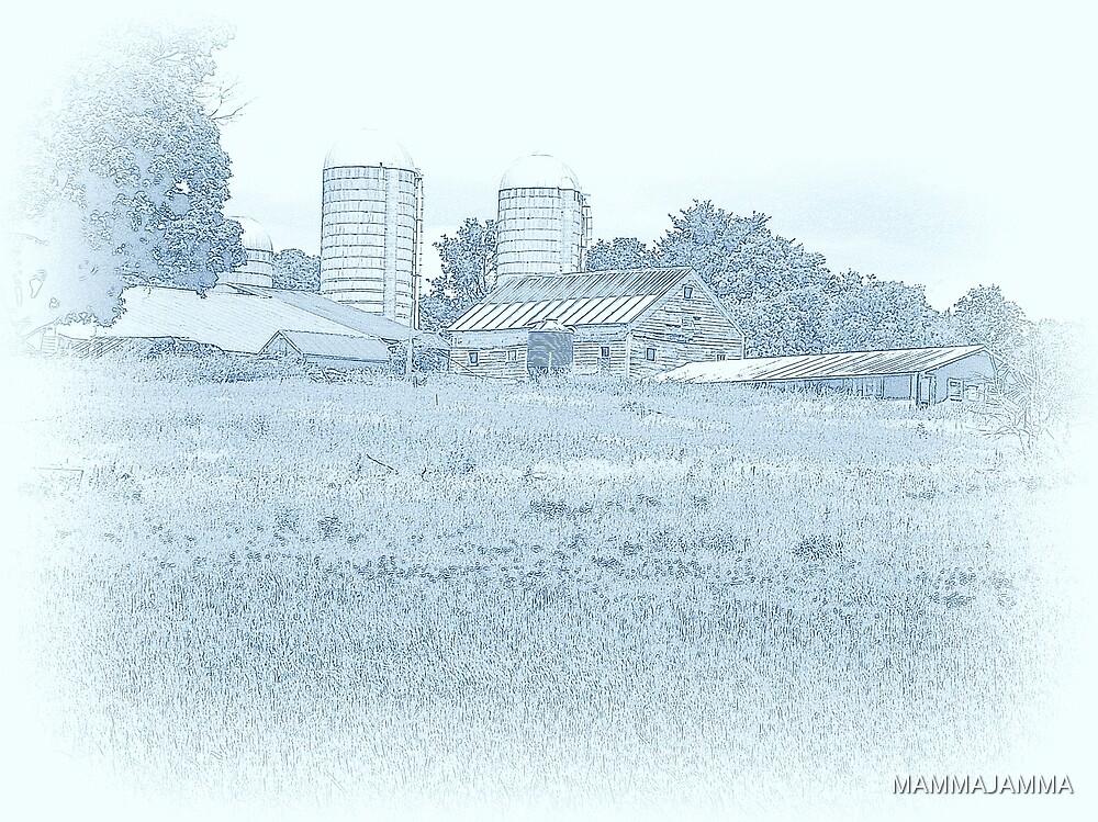 Barn in Blue by MAMMAJAMMA