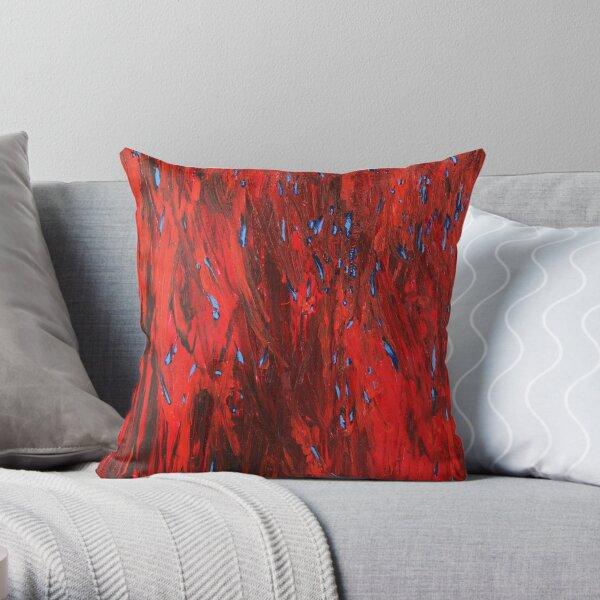 Firefly Sea (blue on red) III/III Throw Pillow