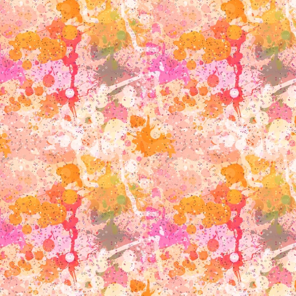 Abstract Paint Splatters Pinks and Orange by Elaine Plesser