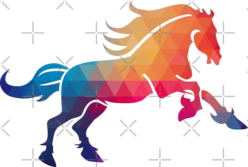 Cute Colorful Horse Modern Geometric pattern by artonwear