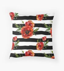 Watercolor poppies on black birch sripes Throw Pillow
