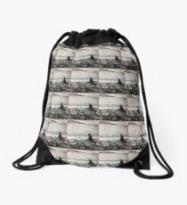 Blue and Bird Drawstring Bag