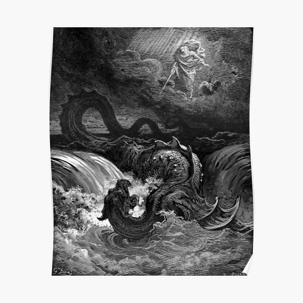 The defeat of leviathan - Gustave Dore  Poster