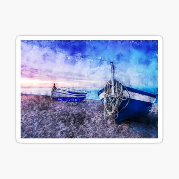 Boats on the beach Sticker