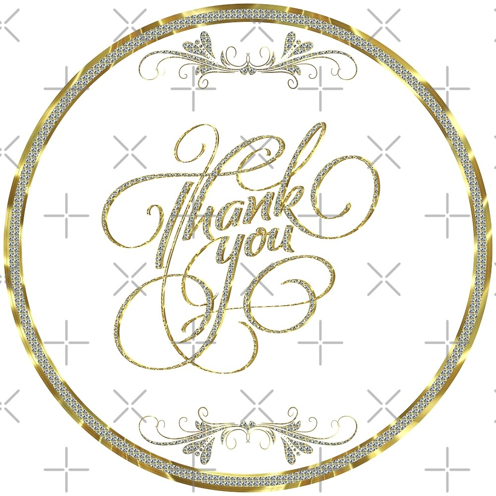 Thank you gold glitter and white Elegant text design by artonwear