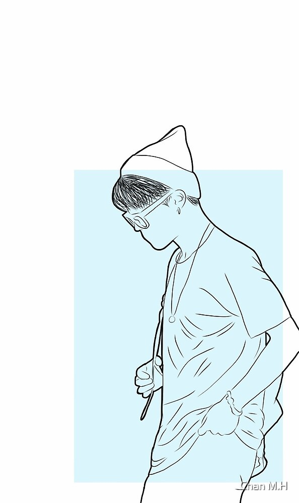 Jimin airport lineart blue  by Chan M.H