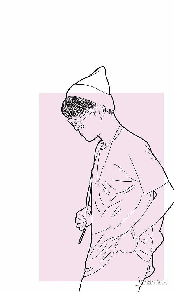 Jimin airport lineart pink by Chan M.H