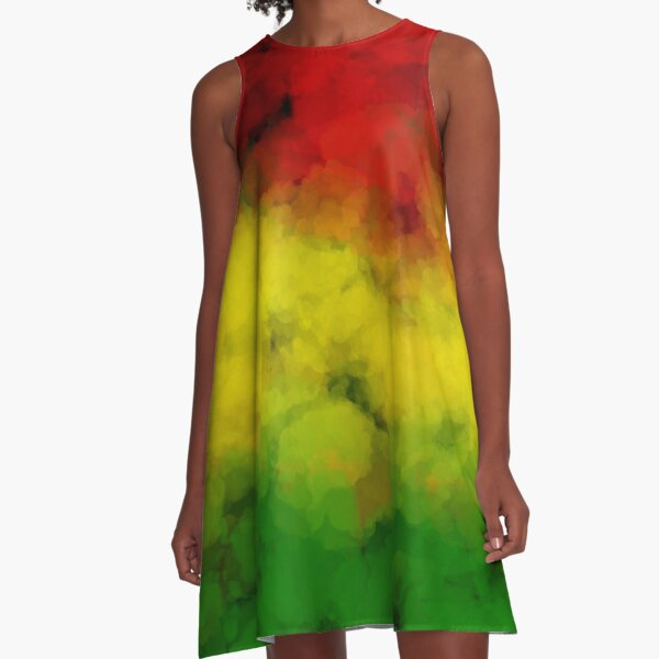 Rasta Watercolor  A-Line Dress
