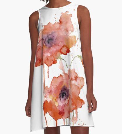 Crimson Poppies A-Line Dress