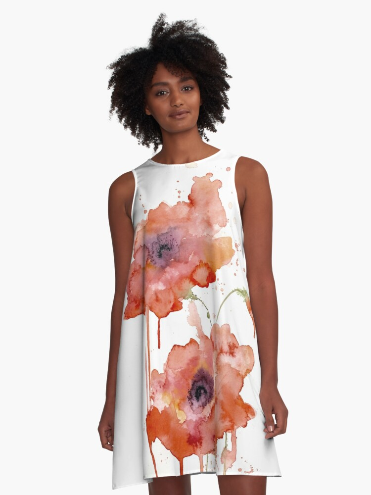 Crimson Poppies A-Line Dress Front