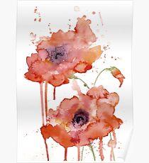 Crimson Poppies Poster