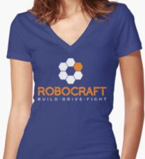 Robocraft Logo (White) Women's Fitted V-Neck T-Shirt