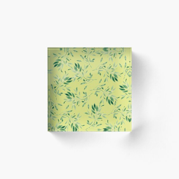 Watercolor leaves green on yellow - pattern Acrylic Block