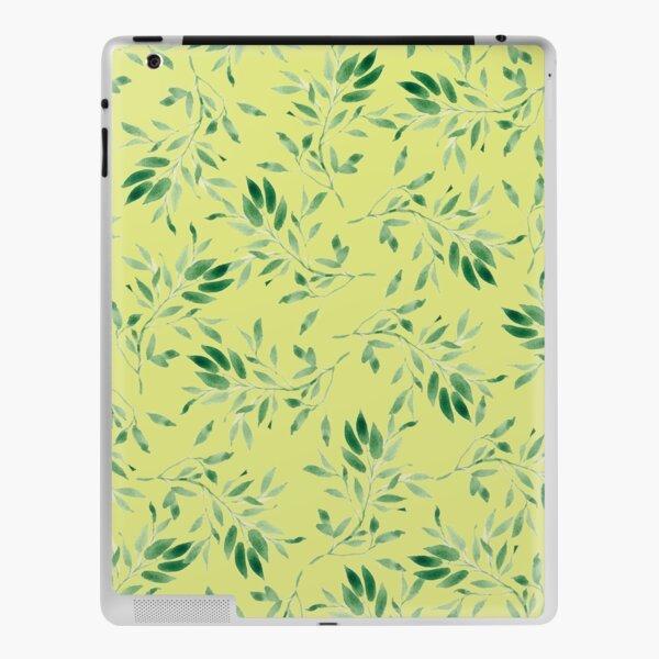 Watercolor leaves green on yellow - pattern iPad Skin