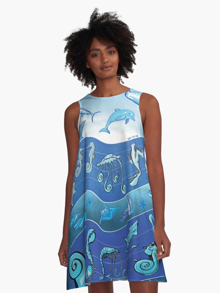 Ocean's Symphony A-Line Dress Front