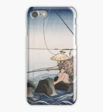 Utagawa Kuniyoshi - Three Anglers Fishing At Teppozu. People portrait: party, woman and man, people, family, female and male, peasants, crowd, romance, women and men, city,  society iPhone Case/Skin