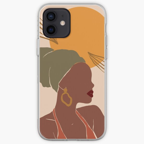 Black Woman Abstract Sun iPhone Soft Case