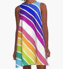 At the End of The Rainbow Stripes A-Line Dress
