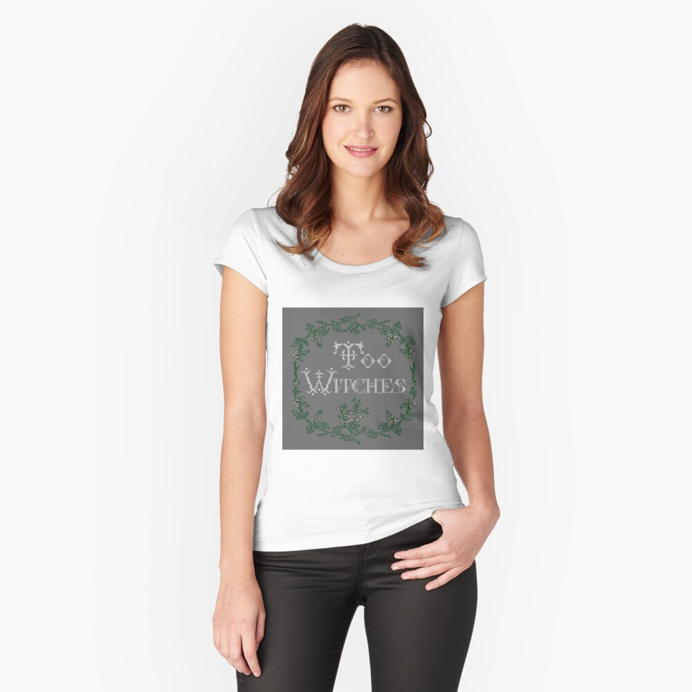 Too Witches (grey) Women's Fitted Scoop T-Shirt Front