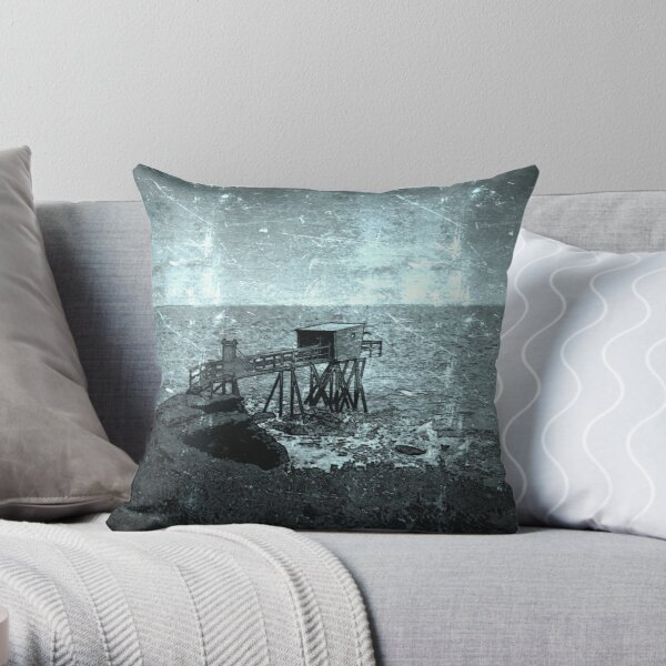 Fishing on the Carrelet, Brittany Throw Pillow