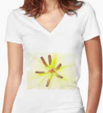 Lily flower close up Women's Fitted V-Neck T-Shirt