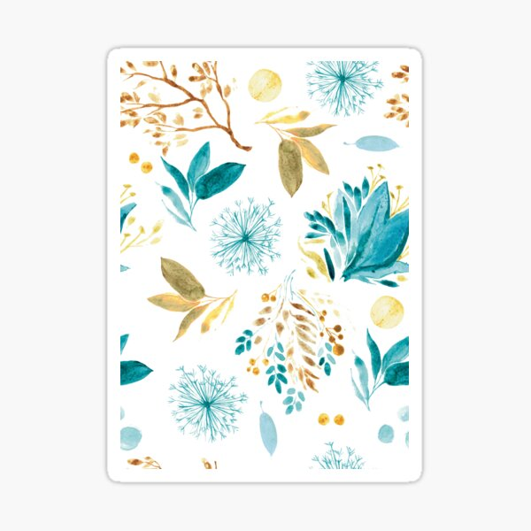 Watercolor plants blue and brown - pattern Sticker