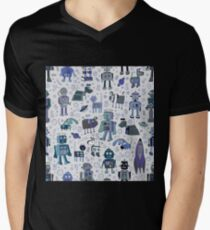 Robots in Space - blue and grey Mens V-Neck T-Shirt