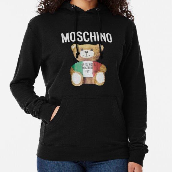 MOSCHINO T-SHIRT Teddy Bear Mens Black T-Shirt Lightweight Hoodie