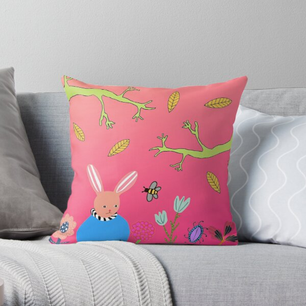 Rabbit in blue with bumble bee Throw Pillow