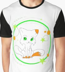 Monster Cat in White Graphic T-Shirt