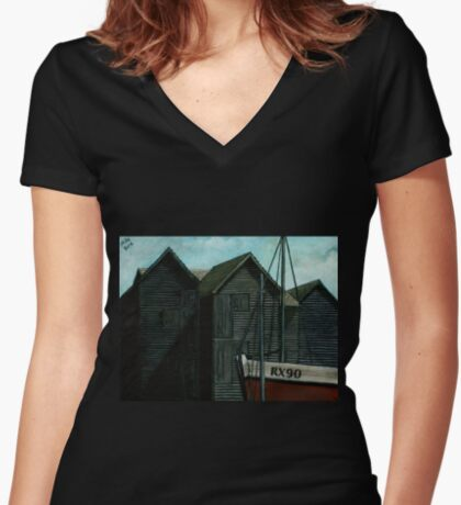 Net Huts and Boat Women's Fitted V-Neck T-Shirt