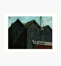 Net Huts and Boat Art Print