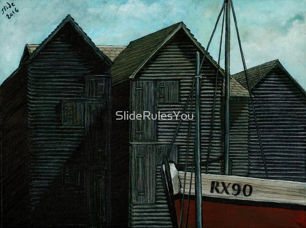 Net Huts and Boat by SlideRulesYou