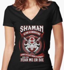Shaman Acting As Moderators - Wow Women's Fitted V-Neck T-Shirt