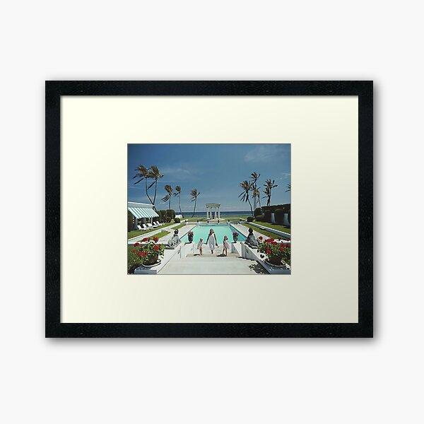 Beauty Girl On Poolside Glamour Poster Framed Art Print