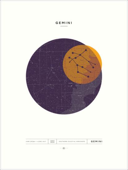 Birthday Star Map.Gemini Star Map Art Prints By Bombadda Redbubble
