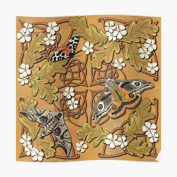 Celtic Moths with Leaves and Flowers Poster
