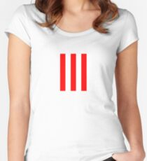 Red and white stripes - Pixel Field Series design Women's Fitted Scoop T-Shirt