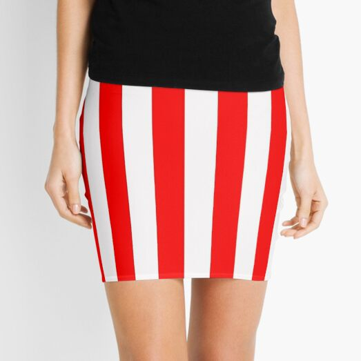 Red and white stripes - Pixel Field Series design Mini Skirt
