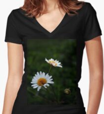 Daisies.  Women's Fitted V-Neck T-Shirt