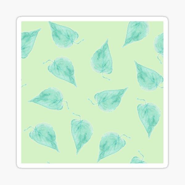 Watercolor leaves blue-green on light green pattern Sticker
