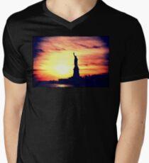 Lady of Liberty Silhouette Men's V-Neck T-Shirt