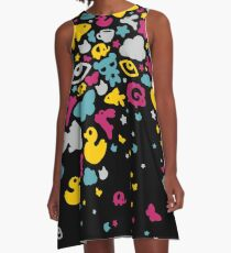 Toys falling like candies - black A-Line Dress