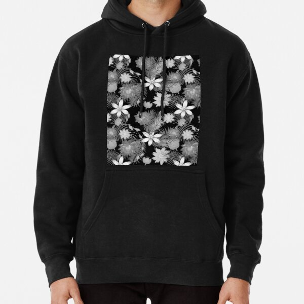 Black and white floral and leaf pattern Pullover Hoodie