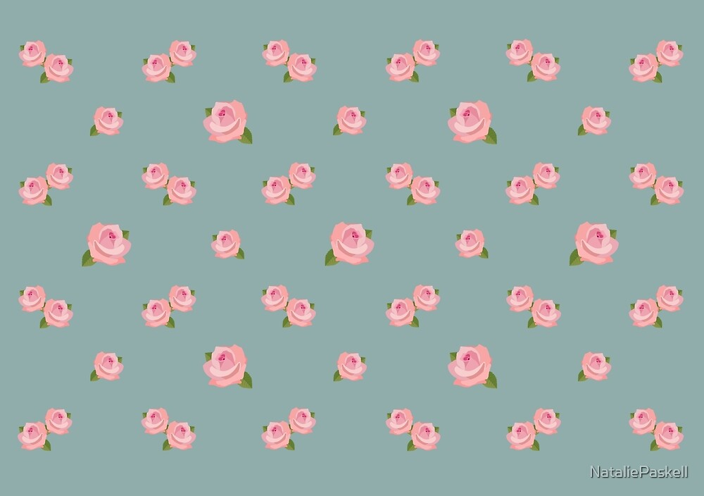 Pink Roses Repeat Pattern on Teal by NataliePaskell
