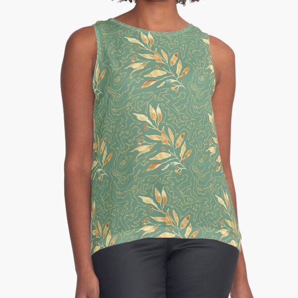 Watercolor leaves golden - pattern Sleeveless Top