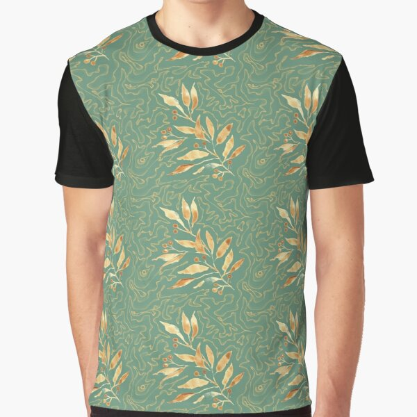 Watercolor leaves golden - pattern Graphic T-Shirt